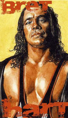 WWE wrestler @Bret Brown Hart watercolor portrait 85 X by smoothdaddyride, $12.50