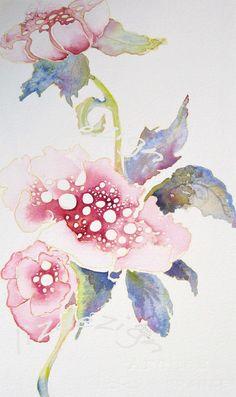 pink poppi Fine Art Flower Portrait watercolor print by lizdezign, $40.00