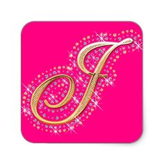 Pink Sticker with Initial J