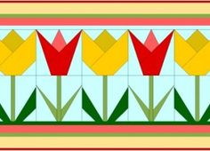 Tulip Paper Pieced Quilt Block