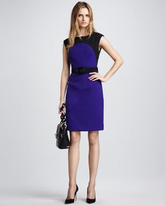 Ella Belted Colorblock Dress by Milly at Neiman Marcus.