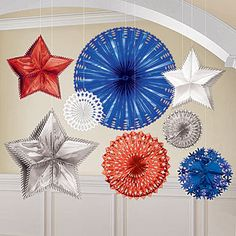 Our Red, White, and Blue Starburst Decorations will decorate any patriotic or forth of July celebration with the red, white and blue.