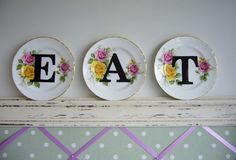 vintage plates, idea, art, new life, kitchen, letters, old china, print, diy projects