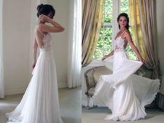 spaghetti strap low back wedding dress - Google Search