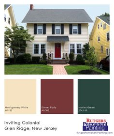 Cheerful yellow siding is matched with a bright red door and deep green shutters on this inviting center-hall colonial home in Glen Ridge, New Jersey.