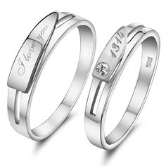 Sterling Silver Engagement Matching Engravable Couple Ring - $33.00