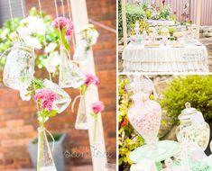 bridal shower decorations, chic vintag, decorating ideas, high tea, hanging flowers
