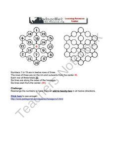Hex It from PedagoNet on TeachersNotebook.com -  (1 page)  - Math center activity