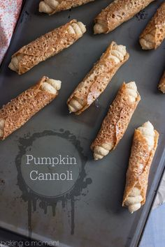 Such a fun Fall treat! Pumpkin Cannoli with a creamy, spiced filling & a nutty almond brittle shell.