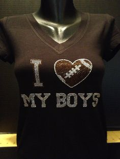 I Love My Boys  Football Mom Bling Shirt by flashyexpressions, $19.99