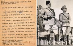 Mohammad Reza Shah (shown here with King Farouk of Egypt) reported ready to succeed his father Reza Shah in September 1939.