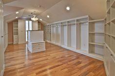 dream closets, closet with angled ceiling, closet white, master closet, dream rooms