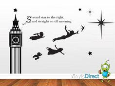 Peter Pan Decal J. M. Barrie Inspired Wall Decal Sticker SKU0134 | VinylsDirect - Children's on ArtFire