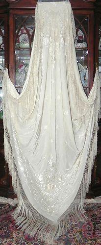 Phenomenal Art Deco Ivory Cream Embroidered Silk Manton de Manila Piano Shawl   eBay