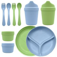 green sprout corn based plastic feeding gear