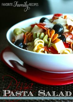 We make this pizza pasta salad all the time when we are feeding a crowd, a perfect side dish for BBQ's and picnics. #pizzapasta #pastasalad