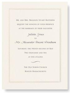 Ecru Beaded Border Personalized Wedding Invitations