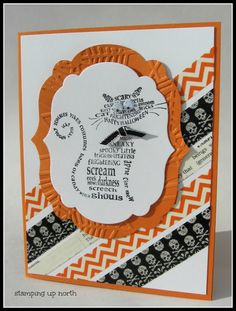 handmade Halloween card from stamping up north: Stampin Up Frightening Feline ...like the background of diagonally placed washi tape strips ... like the layout design!! ... Stampin' Up!