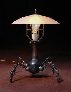 QuadBot Steampunk Lamp by IronAntlerForg