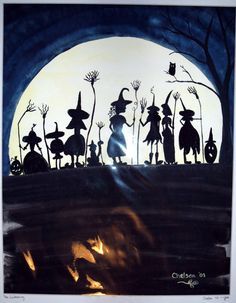 THE GATHERING Original Halloween Watercolor Painting Witches Silhouette