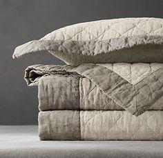 Stonewashed Framed Belgian Linen Coverlet & Shams in White with Fog