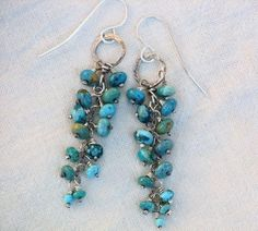Southwest Turquoise Cascade Earrings