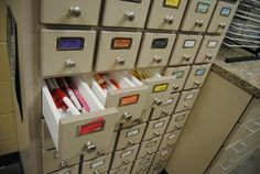 Five Ways to Use a Card Catalog System in Your Art Room. If you know of any libraries that are looking to retire their card catalog drawers, you might just have a great home for it in your art room! studio, craftroom, art room, card catalog