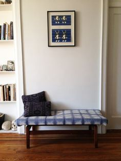 Vintage bench re-upholstered with indigo fabric