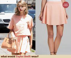 Taylor Swift's peach skirt skirt. Outfit Details: http://wwtaylorw.com/3140