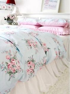 Pastel colored floral bedding.