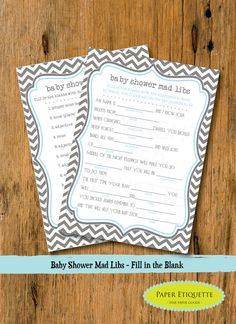 Baby Shower mad lib