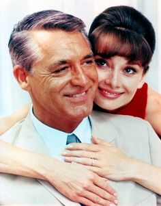 Cary Grant and Audrey Hepburn on the set of Charade 1963
