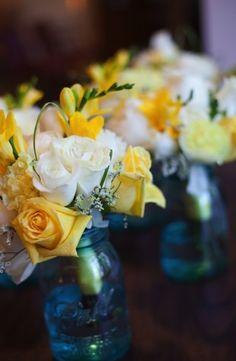 floral centerpieces, blue mason jars, lemons, blue flowers, blue and yellow weddings, sunni lemon, bridesmaid bouquets, lemon yellow, blues