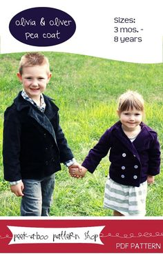 Olivia and Oliver Pea Coat pattern  by Peek-a-boo Pattern Shop At @GoToPatterns