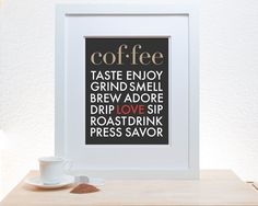 Coffee Typography Print  11x14 Poster art modern by noodlehug,
