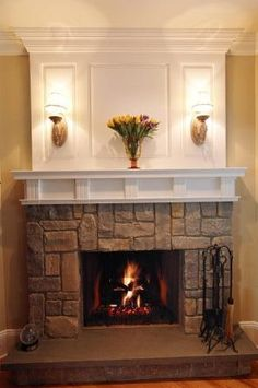 cultured #stone #fireplace with white #mantel