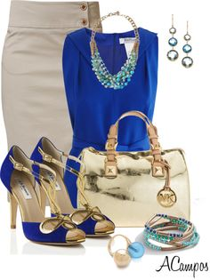 """Gold & Electric Blue"" by anna-campos ❤ liked on Polyvore"