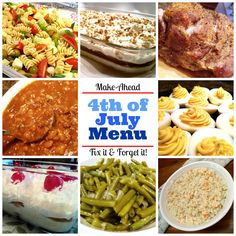 """Make-Ahead 4th of July Menu! A """"game plan"""" for hosting an amazing 4th of July gathering where you (the host) get to kick back and enjoy the day as much as your guests! Get your crock pots ready!"""