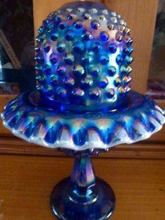 Fenton Purple Hobnail Carnival Glass Fairy Lamp