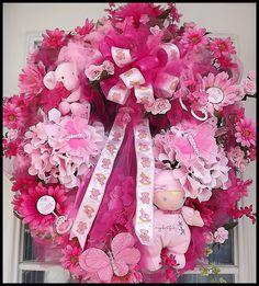 Baby Wreaths | Baby Girl Wreath for Door.