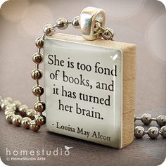 :) charm, louisa may alcott, book lovers, gift, little women, scrabble tiles, necklac, librari, quot