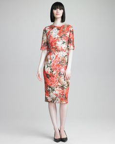 Sequined Floral-Print Dress by Erdem at Neiman Marcus.