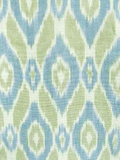 ISTANBUL IKAT NATURAL/GREEN/BLUE Fabric