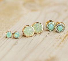 studs, mint green, jewel, style, accessor, colors, stud earrings, closet, aqua