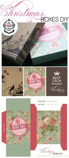 craft, printables, christma box, decorating ideas, free pdf, vintage birds, christmas boxes, free printabl, diy christmas