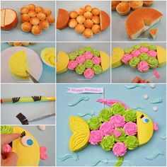 How to Make Colorful Fish Cupcake Cake