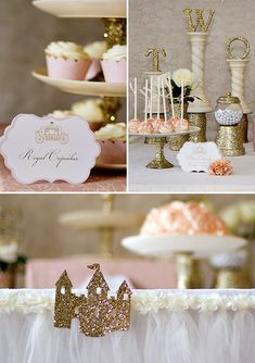 Gold & Sparkly Fairytale Princess Party  Love the pretty table skirt and the TWO letters