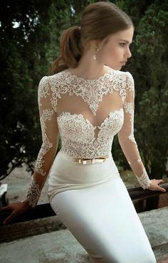 Gorgeous floral lace detail wedding dress