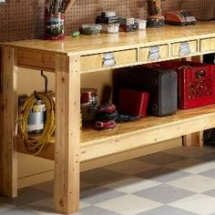 Simple Workbench Plans  With this workbench plan even a beginner can build a workbench strong enough to hold a V-8 engine