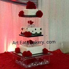 3 tier square black and white edible lace and pearls unique modern wedding cake design with red roses and crystal cake stand